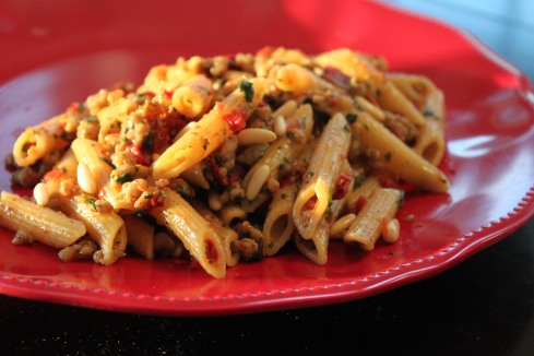 Skillet Penne with Sausage and Spinach (1)