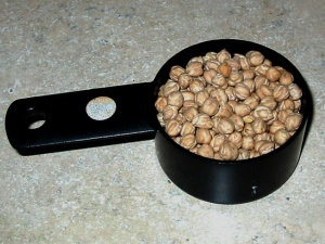 A cup of dried chickpeas