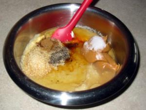 Mixing bowl with hummus ingredients