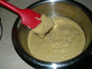 Ground chickpea paste after cooking