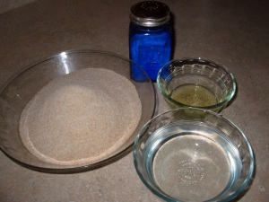 Roti ingredients - whole wheat flour, water, oil and salt